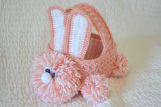 crochet easter, basket pattern, milk, bunni basket, easter crochet