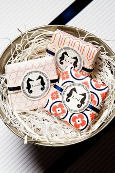 Wedding favor - navy and coral wrapped packages with seahorse monogram
