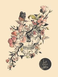 Straight forward skull. Flowers flourish sideways through the skull to make it asymmetrical.