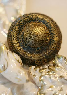 Large VIctorian Brass Button with Detailed Borders.