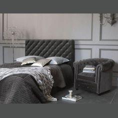 Testata letto 160 cm grigia Chesterfield