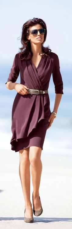 wrap dresses, fashion outfits, dress fashion, offic style, the dress, dress cloth, beach dress, office style, plum