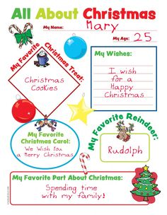 All About Christmas Printable