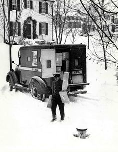 Ding! Dong! Oh, the excitement of seeing a package-laden mailman pull up to your house on a snowy December day ! ~<>~ (vintage, retro, yesteryear, Christmas, Xmas, photo)