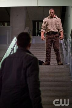 """Supernatural -- """"Everyone Hates Hitler"""" -- Image SN814b_0023 -- Pictured (L-R): Jensen Ackles as Dean and John Desantis as Golem -- Credit: Liane Hentscher/The CW -- © 2013 The CW Network. All Rights Reserved"""