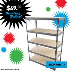 You don't want to miss this Black Friday deal. Shop this 5-Tier Steel Freestanding Shelving Unit for just $49 online today!