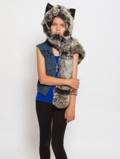 What's Your Spirit Animal? ...... GREY WOLF (Faux Fur) ............ Traits: Loyal > Social > Teacher .... Find out more about the #Grey #Wolf #Spirit #Animal at: https://www.spirithoods.com/kids/girls/greywolf/783/ $69 #Gifts #Fashion #SpiritHood #SpiritHoods #Hoodie #FauxFur #Paws #Scarf #Kids #Girls #ProBlue #InnerAnimal