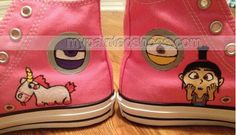 Despicable Me #Minion Hand Painted Shoes,High-top Painted Canvas Shoes
