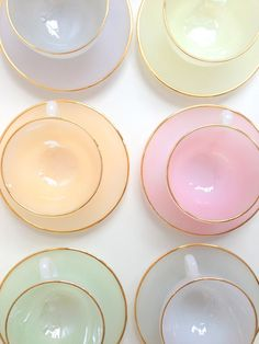 solid pastel tea cups and saucers