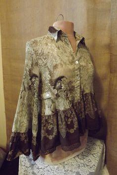 Lagenlook Vintage Inspired Upcycled  I Love Paisley Ruffled Skirted Tunic Blouse Size S-M. $49.00, via Etsy. Ruffles Skirts, Paisley Ruffles, Inspiration Upcycling, Brown Ruffles, Upcycling Clothing, Lagenlook Vintage, Vintage Inspiration, Vintage Inspired, Skirts Tunics