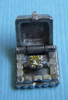 Vintage Movable Ring Box Opens to Engagement Ring Sterling Charm | eBay