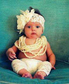 lace + baby + pearls=soooo cute  @Kelsey Matthews
