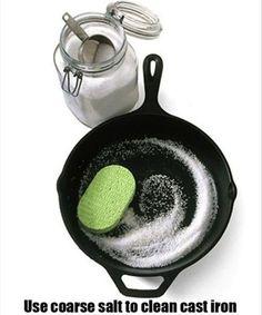 Coarse Salt Cleans Cast Iron