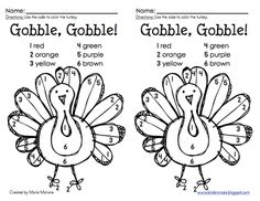 Thanksgiving Color by Number Freebies