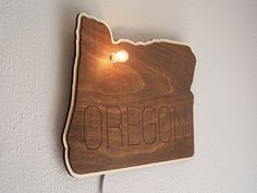 Custom Lit Wood State Sign City Wall Hanging Sign.