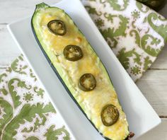 Jalapeno and Chicken Stuffed Zucchini from Peanut Butter and Peppers