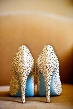 Blue soles on your sparkling heels #somethingblue fashion shoes, wedding shoes, girl fashion, tiffany blue, blue shoes, something blue, christian louboutin, blue weddings, bridal shoes