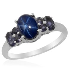 Liquidation Channel: Thai Blue Star Sapphire Diffused, and Iolite Ring in Platinum Overlay Sterling Silver (Nickel Free)