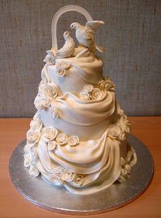 Wedding cake with draping