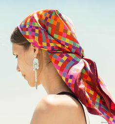 the Hermès bright silk scarf, Lokalwear earrings / Garance Doré