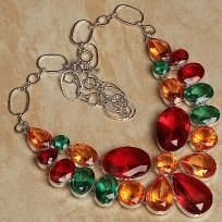 Red Topaz Ruby+Green Topaz Necklace***Free Shipping***