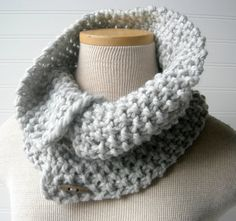 Hand Knit Button Up/ button down Cowl Scarf Soft by WindyCityKnits #silver #wool #scarf #cowl #fashion