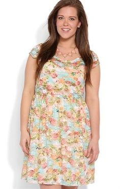 Deb Shops Plus Size A Line Dress with Floral Print and Cap Sleeves $40.00