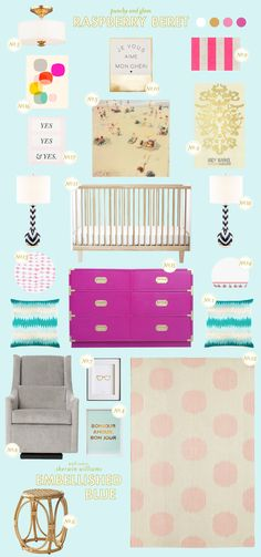 Colorful nursery inspiration board
