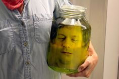 HOW TO MAKE A FAKE DECAPITATED HEAD IN A JAR  http://www.lostateminor.com/2014/03/28/make-fake-decapitated-head-jar/