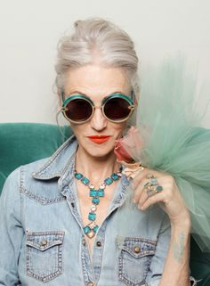 linda rodin (stylist and former fashion model) + those glasses!