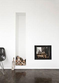 modern fireplaces, copenhagen, interior, wood storage, cottages, fireplace wall, concrete floors, design, live