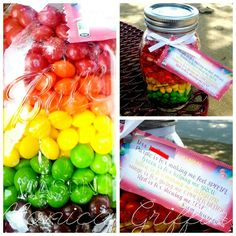 Teacher gift- Jar of Skittle's with customized poem. Each color stands ...