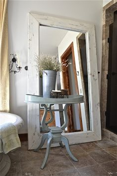 Floor Mirror Country Design Style  Made two floor mirrors from mirrored sliding closet doors.