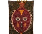 http://www.etsy.com/treasury/MTAzOTQ2MDd8MjcyMzc0NzQ5MA/remodeling-everything-in-2013Quilted Wall Hanging - Tearful Mask-- Use COUPON CODE: QUILT12 to save 15%.