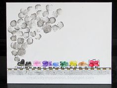 Thumbprint/Fingerprint Freight Train | Craft To Art- great for a Fathers day gift from all the kids (when they are old enough to handle it!)