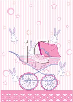 iCLIPART - Royalty Free Clipart Image of a Baby Girl Arrival Announcement Card