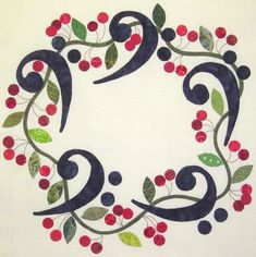 """F Clef Cherry Wreath, in: """"Baltimore Rhapsody"""":  a music-inspired Baltimore Album quilt by Teresa Yielding Rawson at Fabric Therapy Online."""