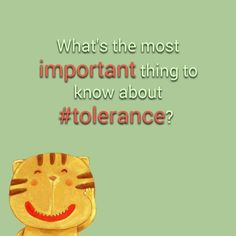 What s the most important thing to know about tolerance quot what s