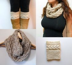 Digital PDF 2 Knitting Patterns - Grace Cable Boot Cuffs Pattern, Cable Cowl Infinity Scarf Knitting Pattern