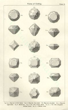 Gem stone cutting illustration, 1950s