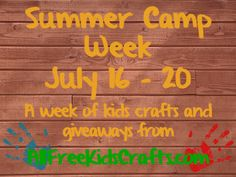 Enter the Summer Camp Week giveaway every day this week (July 16-20) on FaveCraftsBlog! A new kids craft prize every day!