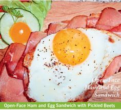 Open Face Ham and Egg Sandwich with Pickled Beets
