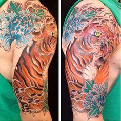 tattoo idea, casey tattoo, tiger tattoo, lion tattoo, tattoo sleeves