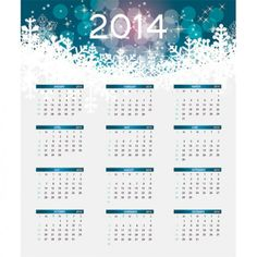 2014 calendar template with snowflakes