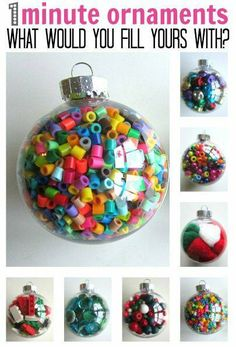 1 minute ornaments for kids to make.  colorful, fun, seasonal, and perfect for working on fine motor skills  #sensoryplay