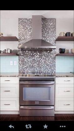 Glittery kitchen tiles