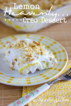 Lemon Heavenly Oreo Dessert on Mandy's Recipe Box. #pudding #oreo