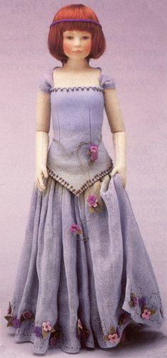 """Lady in Blue, 18"""", felt doll, by Maggie Iacono."""