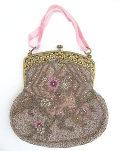 1920 Miyuki Beaded Art Nouveau Edwardian Antique Bridal Bag Purse European Vintage Wedding Pink White Pearls Beads. $275.00, via Etsy.