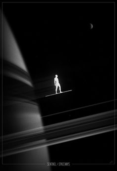 """Sentinel of the Spaceways"" Superhero Noir One Sheet by Marko Manev"